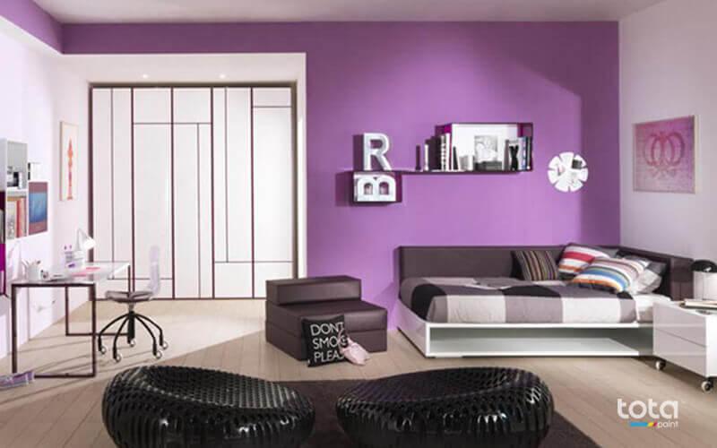 Sơn tường màu tím khi kết hợp cùng màu trắng và hồng nhìn rất đẹp và sang trọng