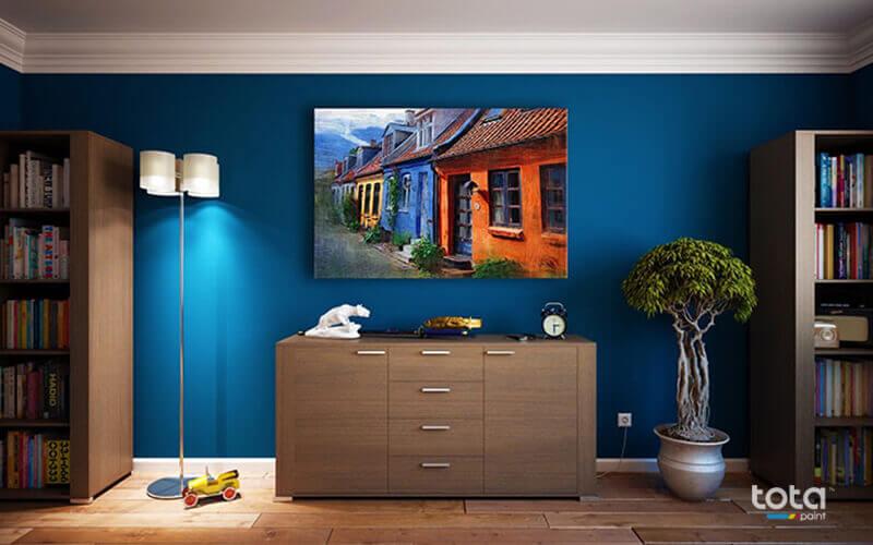 Sơn tường màu xanh thể hiện sự mát mẻ, tươi mới và dễ chịu
