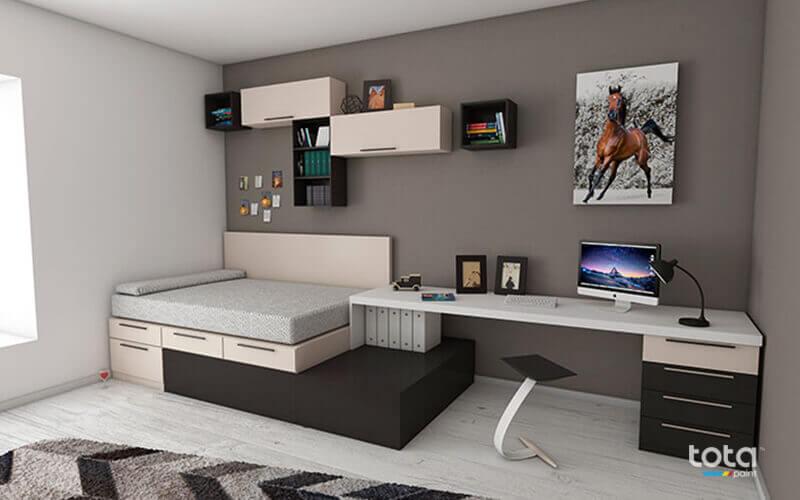 Sơn tường kết hợp giữa 3 màu đen- trắng- xám tạo lên không gian hiện đại