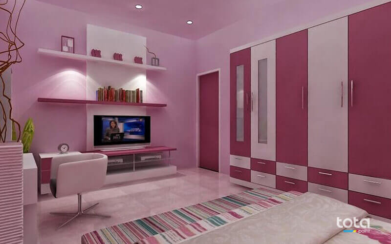 Sơn tường màu hồng phù hợp với phòng ngủ cho phụ nữ và bé gái