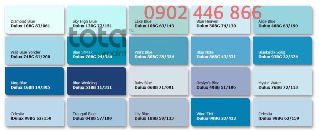 Bảng màu sơn Dulux trong nhà tone xanh dương - TotaPaint