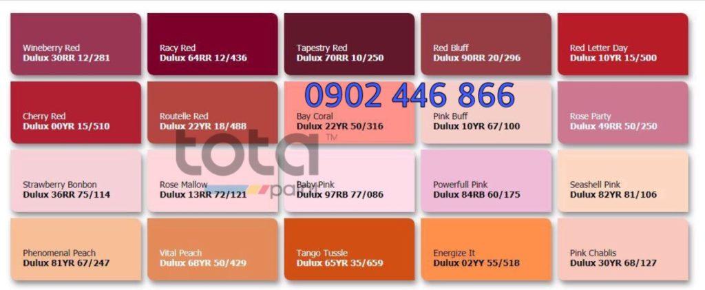 Bảng màu sơn Dulux trong nhà tone đỏ cam - TotaPaint