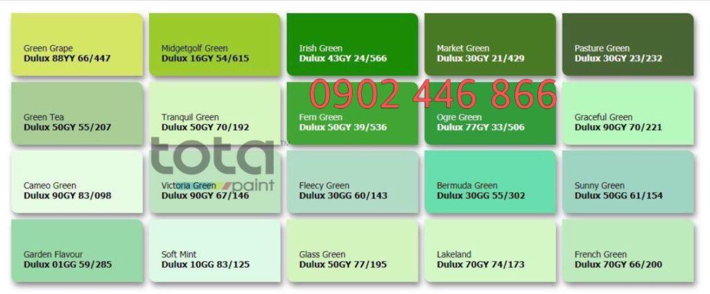 Bảng màu sơn Dulux trong nhà tone xanh lá - TotaPaint