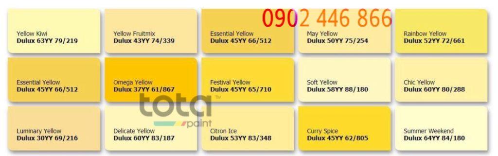 Bảng màu sơn Dulux trong nhà tone vàng - TotaPaint
